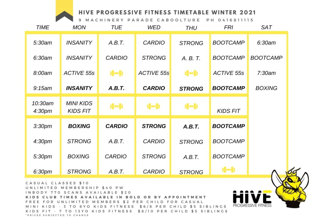 Winter timetable